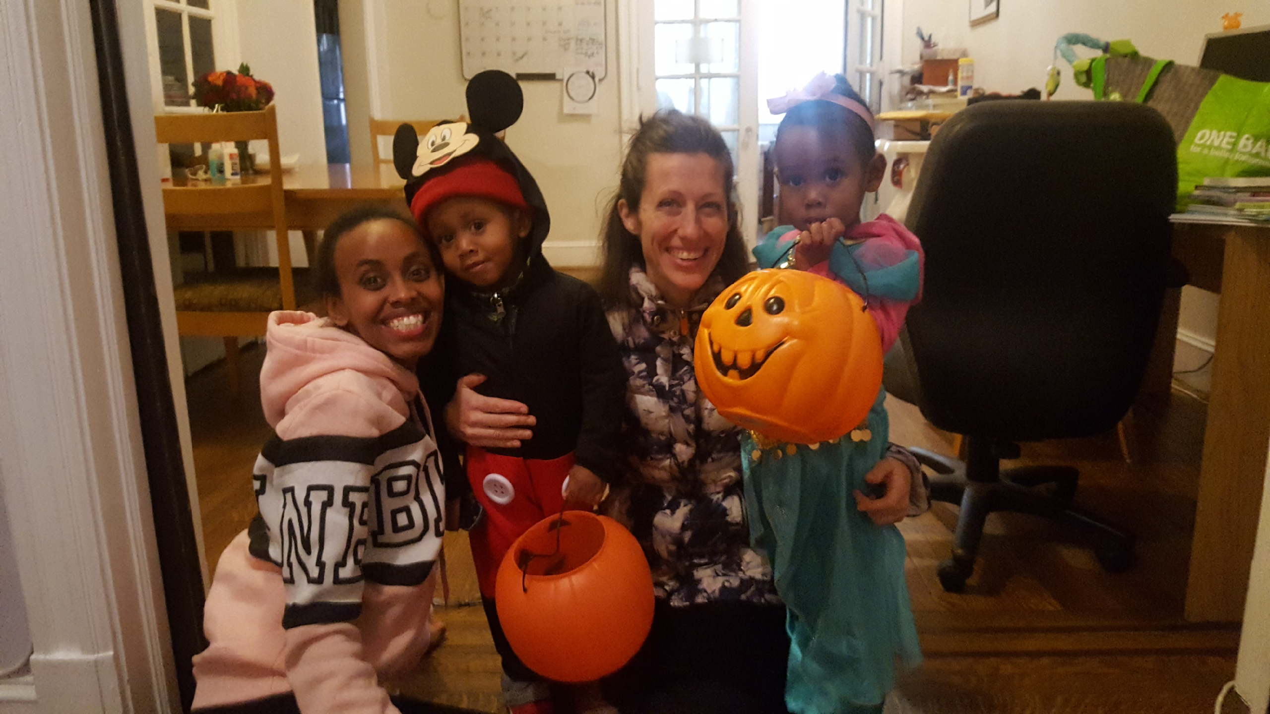 A former resident and her children visited the maternity home to go trick-or-treating with Susan.